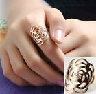 18K GP  White & Gold Plated Hollow out  Rose flower Ring 5.5/6/7/8/9 Size