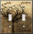 Light Switch Plate Cover - Faith Hope Love - Vintage Tree - Home Decor - Brown