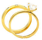 New 2pc Women Stainless Steel Gold plating CZ Engagement Wedding Bands Stones