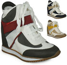 LADIES WOMENS LACE UP VELCRO HIGH TOP HIDDEN WEDGE SNEAKER TRAINERS SHOES SIZE