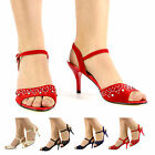 WOMENS LADIES BRIDAL WEDDING PROM PARTY DIAMANTE MID HIGH HEEL SHOES SANDAL SIZE