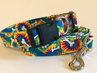 TIE-DYE AND PAWPRINTS PRINT DOG COLLAR AND LEASH SET (YOU PICK THE SIZE)