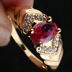 Women Oval Stone 18K Gold Finish 925 Sterling Silver Ring Size Wedding Gift