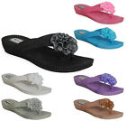 WOMENS LADIES JELLY JELLIES FLOWER TOE-POST FLAT BEACH SUMMER SANDALS SHOES SIZE