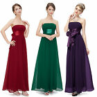 Long Wedding Bridesmaid Dresses Strapless Chiffon Women's Evening Gown 09060