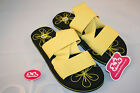 JuJu Ladies Summer Beach Sandals Size 3 4 5 6 7 Black Yellow Strapped Flipflops