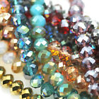 Faceted Rondelle Cut Glass Metallic Crystals Beads Size 4mm 6mm 8mm 10mm