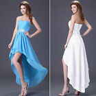 Formal Strapless Chiffon Party Ball Evening Bridesmaid Cocktail Dress Blue/Whtie
