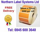 50mm x 25mm ORANGE Direct Thermal Labels for Zebra, Citizen, Toshiba etc