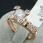 18K Rose Gold GP Eiffel Tower in Paris Austrian Crystals wedding Ring BR788