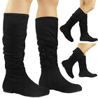 NEW WOMENS LADIES FAUX SUEDE CUFF PIXIE MID-CALF FLAT LOW HEEL BOOTS SHOES SIZE