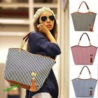 Fashion Women Lady Tassel Canvas Stripe Shoulder Bag Tote Handbag Hobo Satchel