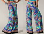 SEXY BLUE PAISLEY FLORAL FOLDOVER TALL WIDE LEG FLOWY YOGA PALAZZO PANTS S M L