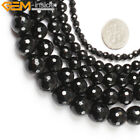 "Natural Stone Genuine Black Agate Onyx Gem Beads For Jewelry Making 15"" Faceted"