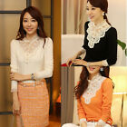 Fashion Vintage Fitted Long Sleeve Lace Tops Button Down Shirt Embroidery Blouse