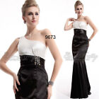One Shoulder EverPretty Fishtail Black White Long Evning Dress Formal Gown 09673