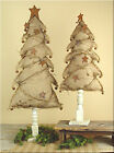 BURLAP CHRISTMAS TREE ON WOOD SPINDLE BASE WITH RUSTIC STARS AND JINGLE BELLS