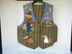 NEW Patch Magic Quilted Autumn Ladies Vest with Scarecrow in Pumpkin Patch