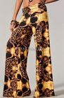 FOLD OVER GOLD BLACK VICTORIAN TALL WIDE LEG FLOWY YOGA SUVA PALAZZO PANTS S M L