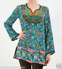 Tolani 100% Silk Stephani Tunic Dress in Turquoise Floral 8447