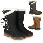 WOMENS LADIES LACE UP MID-CALF BUCKLE HARD GRIP SOLE WINTER SNOW RAIN BOOTS SIZE