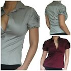 Blouse Ladies Shirt Top Short Sleeve Office Womens Tops Size 10 12 14 16 18 20