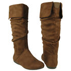 New Women's Mid Calf Cuffed Collar Slouchy Flat Boots Brown Sizes 5.5-10