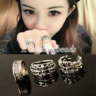 Vintage Antique Silver Hollow Letter Rings 16mm Inner Size 3 Style Choose