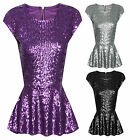 Womens Fully Sequin Cap Sleeves Zip Back Ladies Peplum Frill Party Top Size 8-14