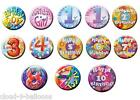 Brand New 55mm Diameter Small Birthday Badge - From Age 1 to 10, Boy or Girl