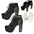New Cool Spike Studded Rivets Platform Thick High Heels Ankle Boots Women DZ88