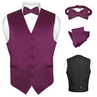 Men's EGGPLANT PURPLE Dress Vest BOWTie Set for Suit or Tuxedo