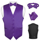 Men's PURPLE INDIGO Dress Vest BOWTie Set for Suit or Tuxedo