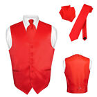 Men's Dress Vest NeckTie RED Color Neck Tie Set for Suit or Tuxedo