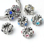 5/10/20PC Colorful Silver Tone Crystal Bead Spacer Fit European Charm Bracelet