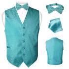 Men's Paisley Design Dress Vest & Bow Tie TURQUOISE AQUA BLUE Color BOWTie Set