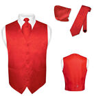 Men's Red Paisley Design Dress Vest and NeckTie Set for Suit or Tuxedo