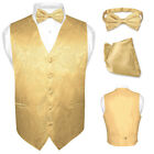 Men's Paisley Design Dress Vest & Bow Tie GOLD Color BOWTie Set for Suit or Tux