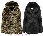 LADIES WOMENS ALL OVER FAUX FUR ANIMAL LEOPARD PRINT POM POM JACKET COAT 8-16