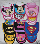 Baby Infant Bib & Burp Cloth Set Batman Superman Mickey Minnie Mouse Girl Boy