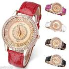 Vogue Crystal Rose Gold Case Quartz Wrist Watch PU Leather Band Girl Womens Gift