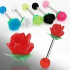 1 x 14g-16mm Steel Tongue Barbell with Silicon Rose Body Piercing Jewellery