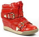 Red Gold Buckled Faux Leather High Top Lace Up Fashion Wedge Sneakers Boots