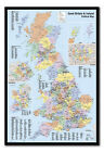 Great Britain & Ireland Map Pinboard - Cork Board Inc Pins - Choice Of Frames