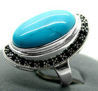 Pretty17X30mm Blue Turquoise Inlay  Marcasite 925 Sterling Silver Ring 7/8/9/10