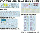 STAR TREK 1/2500 scale Conversion Decals NX, 1701, REFIT, C, D & NEBULA CLASS on eBay