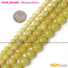 Jewelry Making Fashion smooth round yellow lemon stone gemstone beads strand 15""