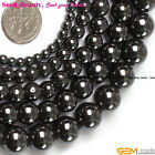 Jewelry Making Fashion round black smooth hematite gemstone beads strand 15""