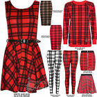 LADIES  WOMENS TARTAN PRINT LEGGINGS BELT SKATER BODYCON DRESS MIDI PENCIL SKIRT