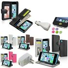 Card Holder Wallet Leather Case+White AC+Car Charger+Sticker For iPhone 5C